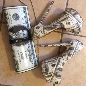 Matching money clutch and pumps